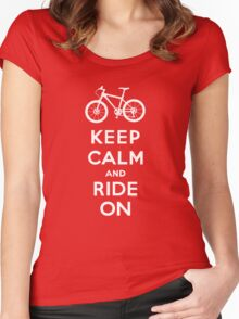 Keep Calm and Ride On mountain bike white fonts Women's Fitted Scoop T-Shirt