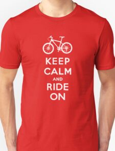 Keep Calm and Ride On mountain bike white fonts T-Shirt