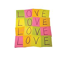 LOVE in Post-it Notes Photographic Print