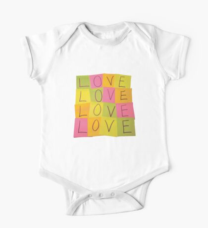 LOVE in Post-it Notes One Piece - Short Sleeve