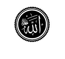 ALLAH SYMBOL, ISLAM, Muslim Faith, Koran, Quran, black on white Photographic Print