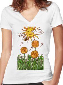 Dandelions` Women's Fitted V-Neck T-Shirt