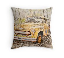 The Yellow Truck Throw Pillow