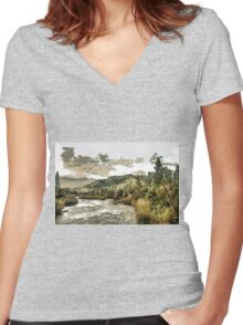 South Fork of the American River at Coloma in El Dorado County, California, USA Women's Fitted V-Neck T-Shirt