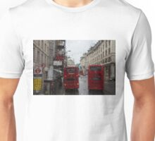 London - It's Raining Again But Riding the Double-Decker Buses is Fun! Unisex T-Shirt