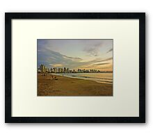 People in the Beach at Sunset Framed Print