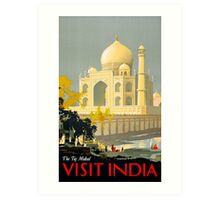 Taj Mahal Visit India Vintage Travel Poster Restored Art Print