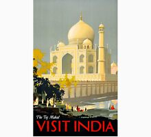 Taj Mahal Visit India Vintage Travel Poster Restored Unisex T-Shirt