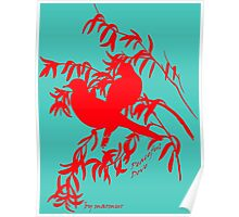 Red peaceful dove Poster