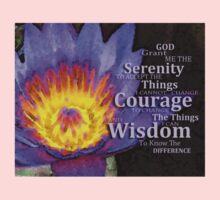 Serenity Prayer With Lotus Flower By Sharon Cummings One Piece - Short Sleeve