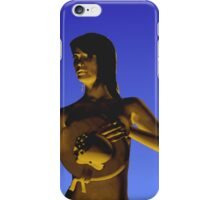 Woman in front of a blue background iPhone Case/Skin