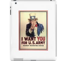 America, American, I Want You! Uncle Sam Wants You, USA, War, Recruitment Poster iPad Case/Skin