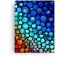 Abstract 2 - Colorful Blue Mosaic Abstract Art Print Canvas Print