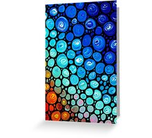 Abstract 2 - Colorful Blue Mosaic Abstract Art Print Greeting Card
