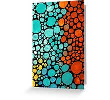 Abstract 3 - Colorful Mosaic Art Aqua Orange Yellow Greeting Card