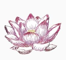 Pink Lotus Line Drawing Kids Clothes