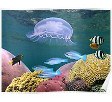 Jellyfish with colorful fish and corals Poster