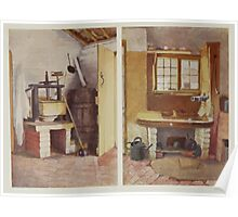 Kate Greenaway Collection 1905 0051 Kitchen Pump and Old Cheese Press at Rolleston Poster