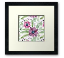 Pink and purple watercolor anemone flowers pattern Framed Print