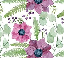 Pink and purple watercolor anemone flowers pattern by helga-wigandt