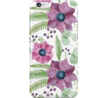 Pink and purple watercolor anemone flowers pattern iPhone Case/Skin