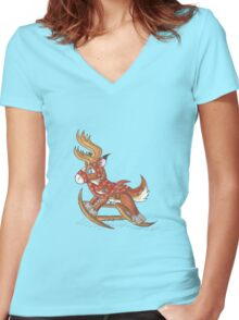Rocking Dasher Women's Fitted V-Neck T-Shirt