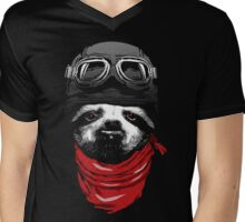 Adventure Sloth Mens V-Neck T-Shirt