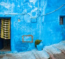 Blue Wall with Green Curtain by eyeshoot