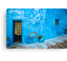 Blue Wall with Green Curtain Canvas Print