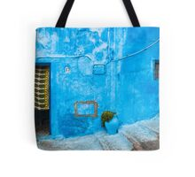 Blue Wall with Green Curtain Tote Bag