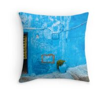 Blue Wall with Green Curtain Throw Pillow