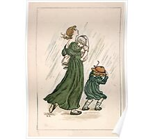 Kate Greenaway Almanack 1893 0016 March Rain Poster