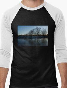 Icy Cool Blue Reflections Men's Baseball ¾ T-Shirt