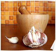 Bamboo mortar and garlic Poster