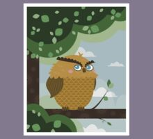 Owl in a branch Kids Clothes