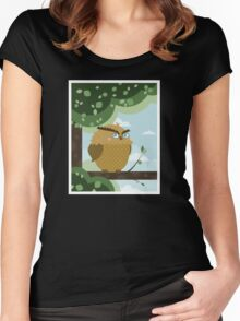 Owl in a branch Women's Fitted Scoop T-Shirt