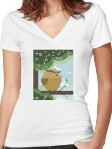 Owl in a branch Women's Fitted V-Neck T-Shirt