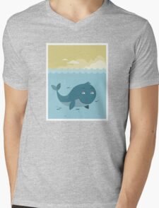 Whale at sea Mens V-Neck T-Shirt