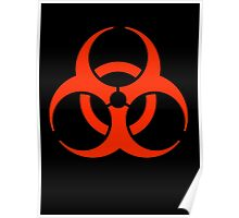 Biohazard symbol, Biological hazard, BIO HAZARD, in red & black Poster