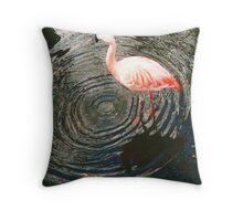 Flamingo Creating Ever decreasing circles Throw Pillow