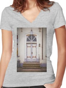 Old door Women's Fitted V-Neck T-Shirt
