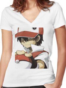 Pokemon - Trainer red Women's Fitted V-Neck T-Shirt