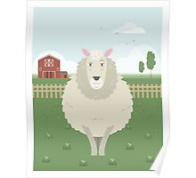 Sheep in a meadow Poster