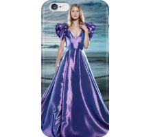 Woman wearing beautiful long blue dress at waterfront art photo print iPhone Case/Skin