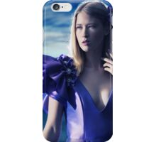 Beautiful blond woman in blue dress beauty portrait art photo print iPhone Case/Skin