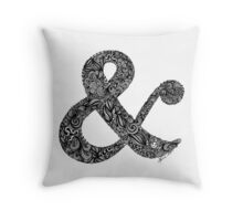 Black and White Intricate Ampersand Throw Pillow