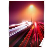 Highway traffic light trails in fog at nighttime art photo print Poster