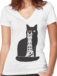 Eye of Cat or Sauron Women's Fitted V-Neck T-Shirt
