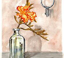marigold in antique jar with old keys, 1 of 2 by resonanteye