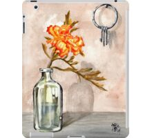 marigold in antique jar with old keys, 1 of 2 iPad Case/Skin